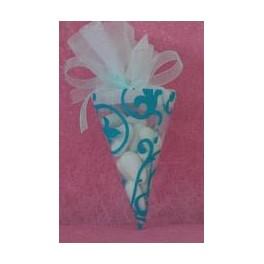 Cornet à dragées arabesque Turquoise