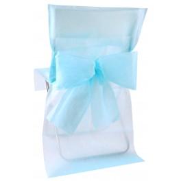 Housse de chaise avec noeud bleu ciel