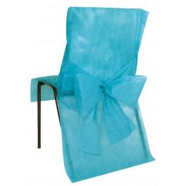 Housse de chaise avec noeud turquoise