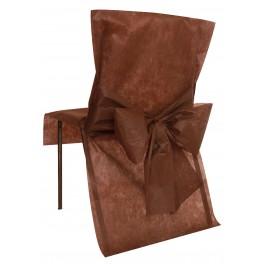 Housse de chaise avec noeud chocolat