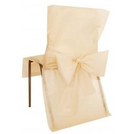 Housse de chaise avec noeud ivoire