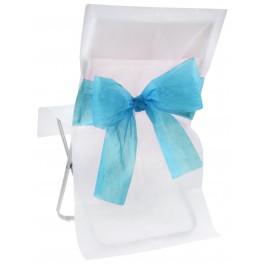Housse de chaise bicolore Blanc / Turquoise