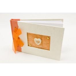 Livre d'or coeur raphia Orange