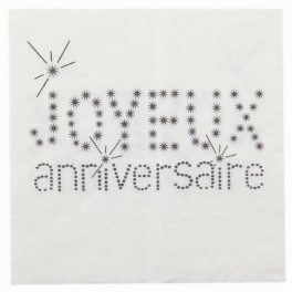 Serviette de table Anniversaire Blanc