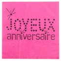 Serviette de table Anniversaire Fuchsia