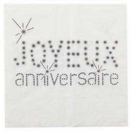 Serviette de table anniversaire blanc Sachet de 20 serviettes de table... par LeGuide.com Publicité